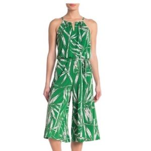 London Times Cropped Green Leaf Print Jumpsuit
